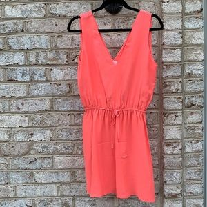 Parker Orange Pink V Neck Silk Mini Dress S